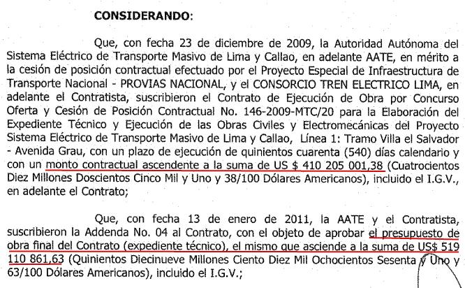 Resolución que aprueba el incremento de más de 100 millones de dólares del tramo 1 del Metro. Fuente MTC