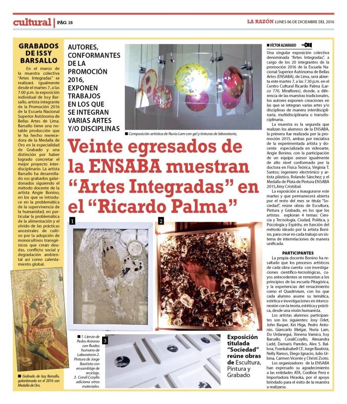 la razon lima lunes 06 febrero 2017_ pag 16_ muestra artes integradas.jpg